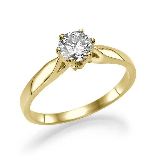 טבעת אירוסין סוליטר זהב צהוב גרייס 0 41 F Si1 Diamond Factory