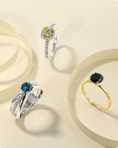 טבעות יהלומים צבעוניים